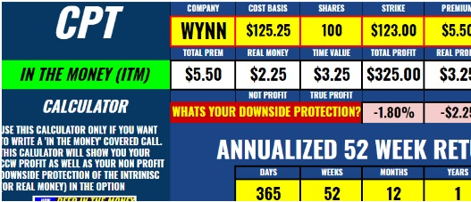 Covered Call In The Money ITM Spreadsheet software